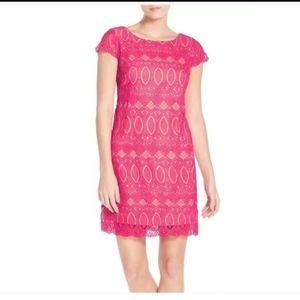 Eliza J Pink Crochet Lace Midi Dress